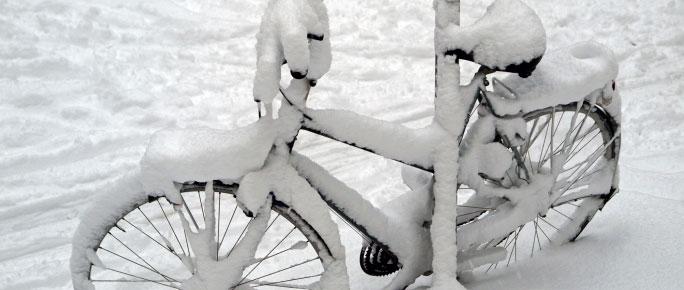 fiets sneeuw
